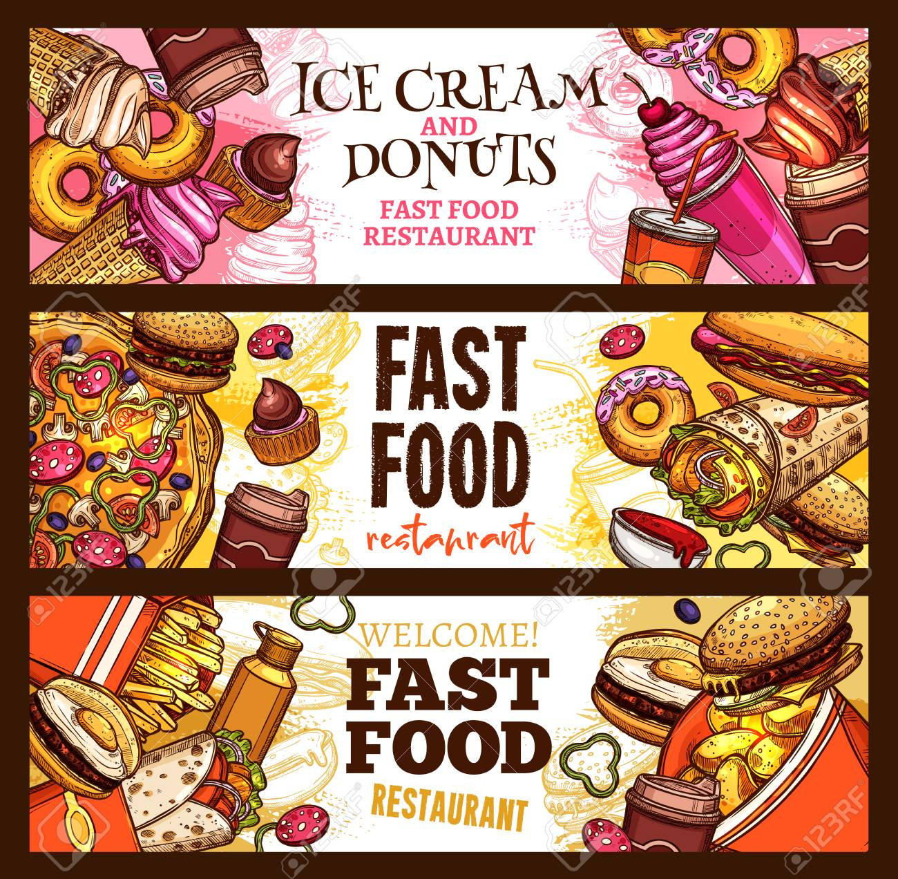 fast food restaurant banner set for burger and dessert menu template