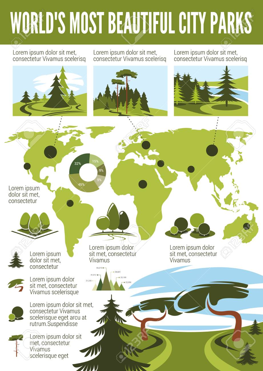 Landscape Design Infographic With World Map Of Most Beautiful Royalty Free Cliparts Vectors And Stock Illustration Image 108884843
