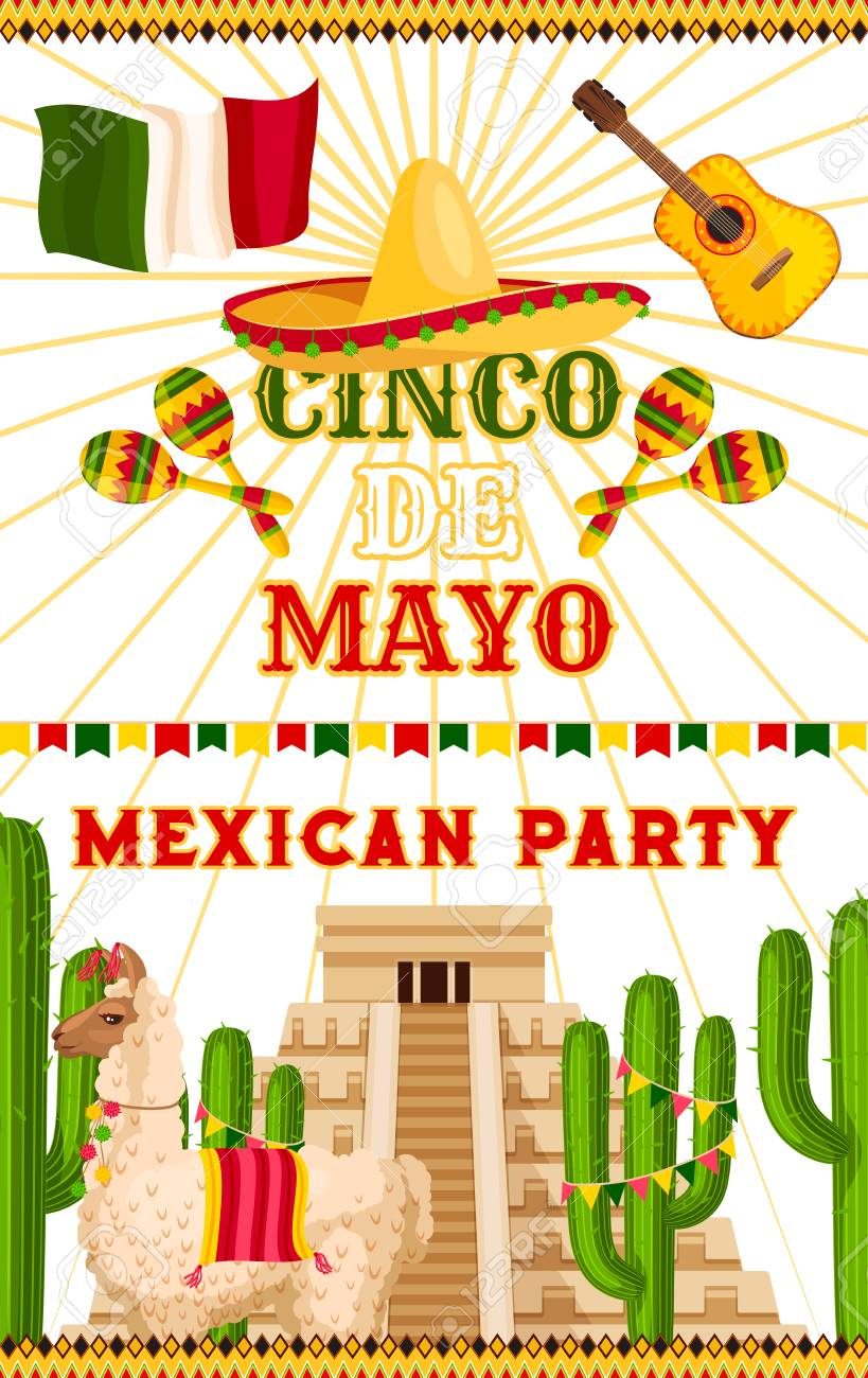 cinco de mayo party invitation card or poster for mexican