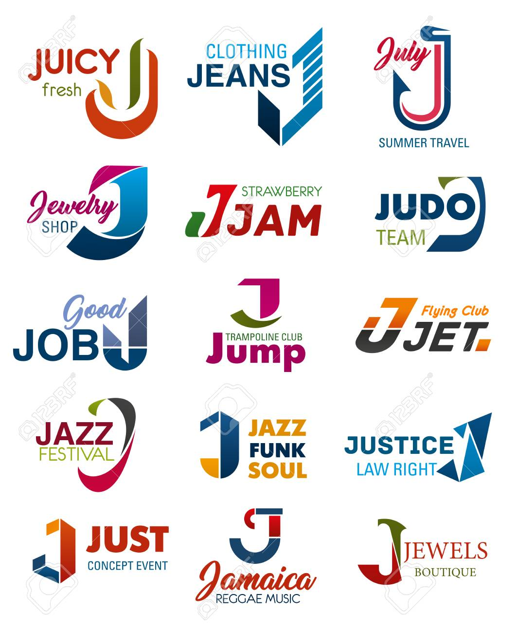 J letter business identity icons and symbols. Juicy and jeans, july and jewelry, jam and judo, job and jump, jet and jazz, justice and just, Jamaica and jewels signs - 108886100