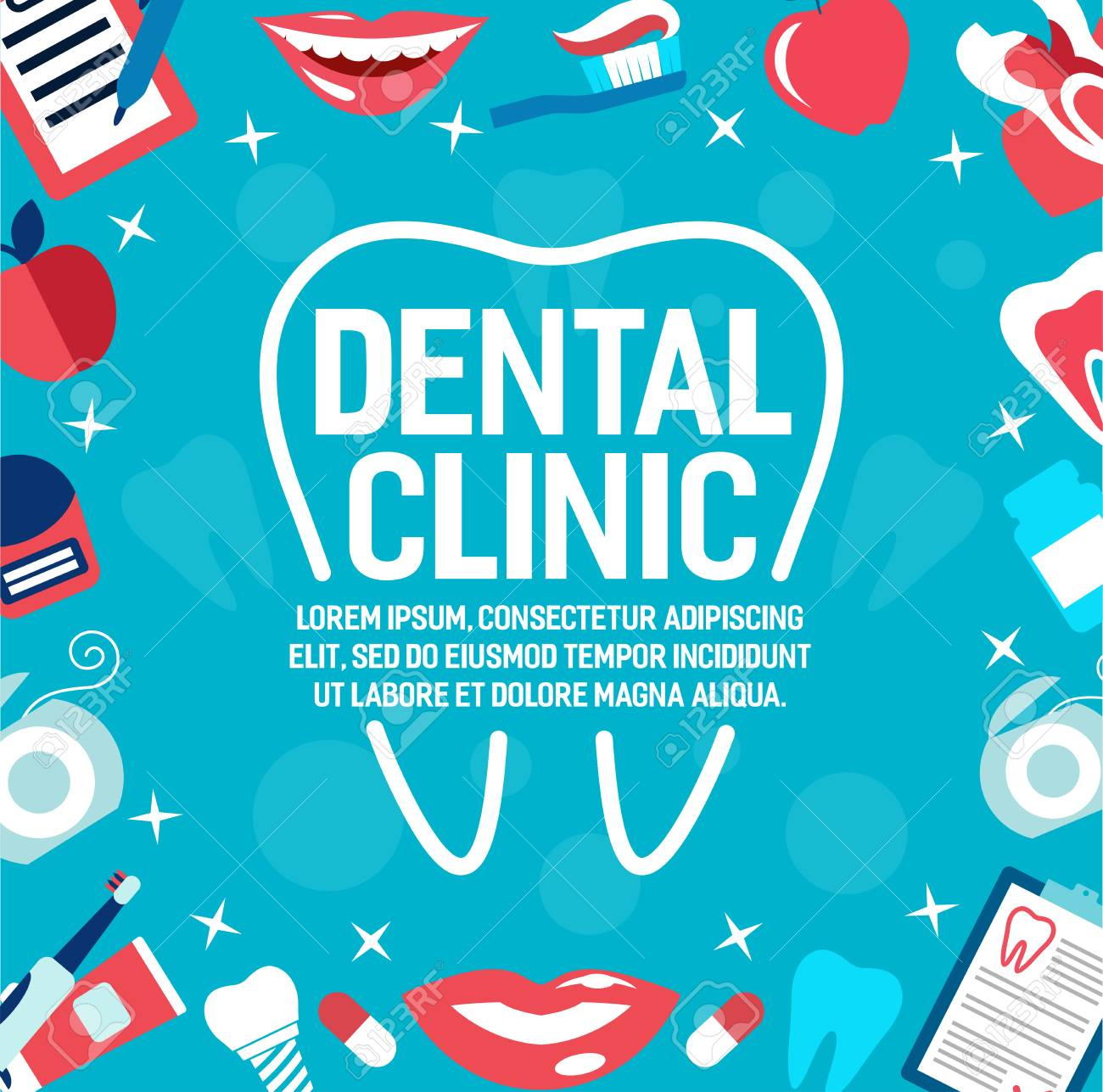 Dental clinic poster for dentistry medicine or dental healthcare