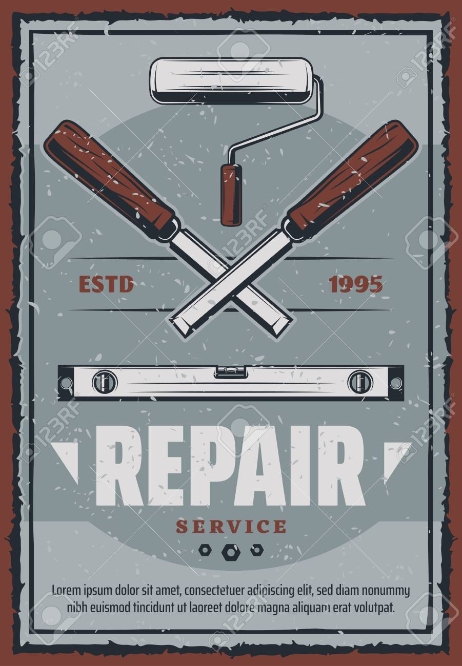 Repair Service Poster Of Construction And Home Renovation Or