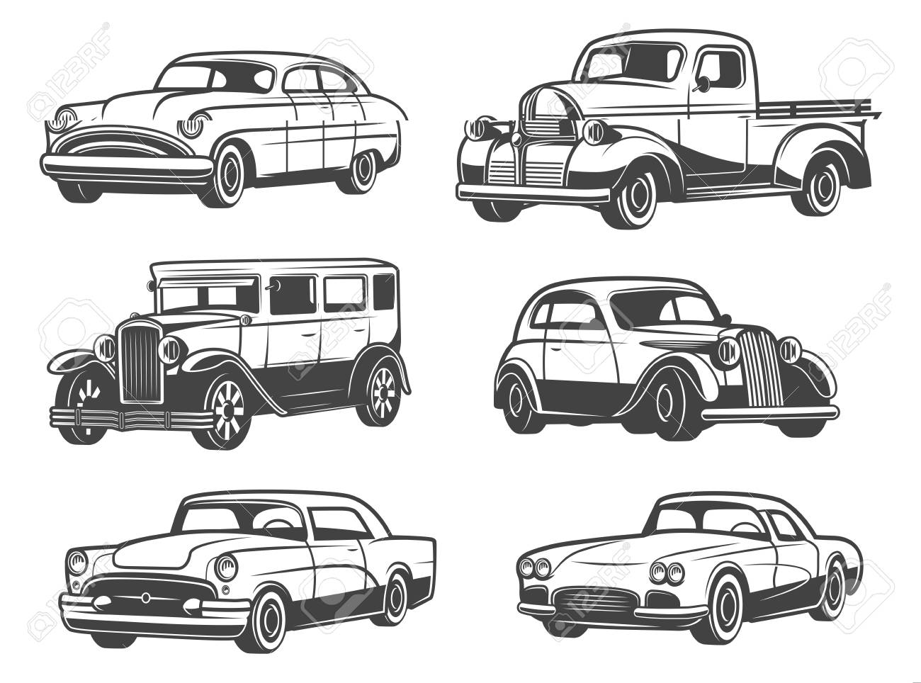 Retro cars and vintage antique vehicle models. Vector isolated icons of transport taxi cab, sport car and minivan, old luxury sedan or limousine. Car show and auto service themes - 109651063
