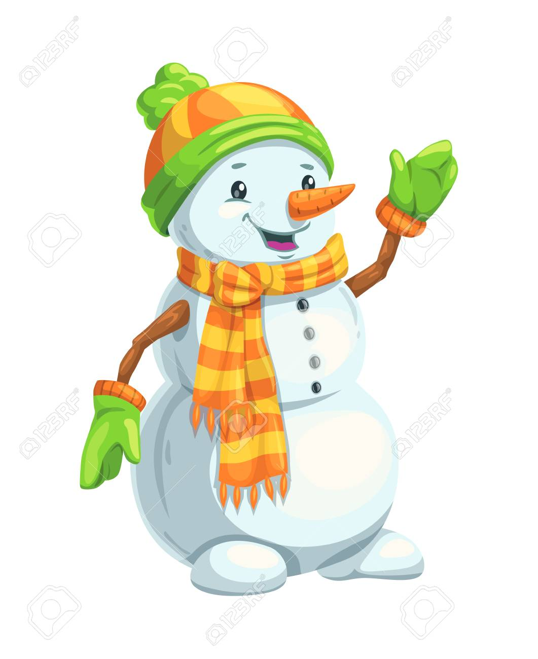 Christmas Snowman With Scarf Hat And Mittens Carrot Nose And