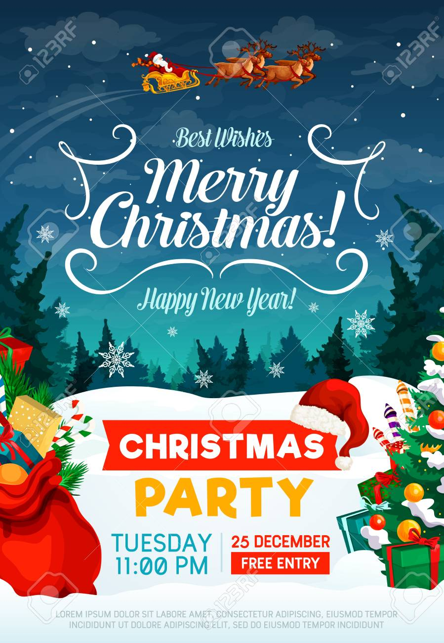 Christmas Party Poster Or Invitation Card Happy New Year And