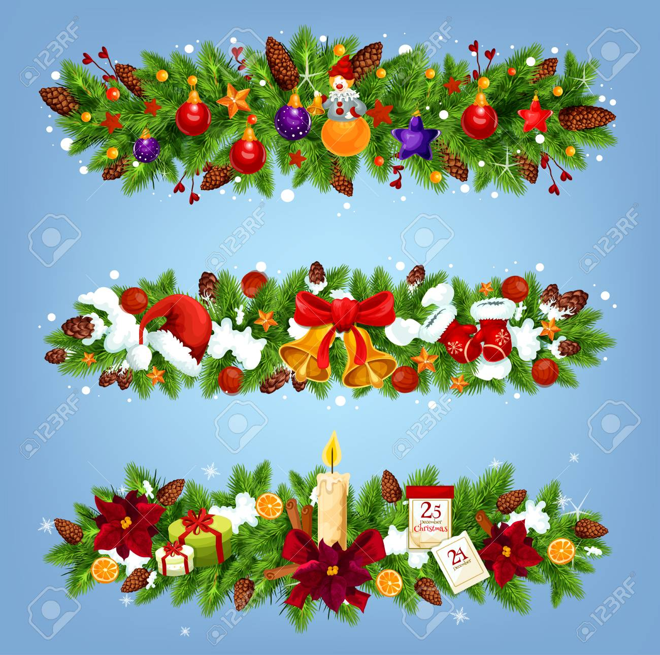 christmas festive garland with xmas gift and new year ornaments xmas tree border with bell