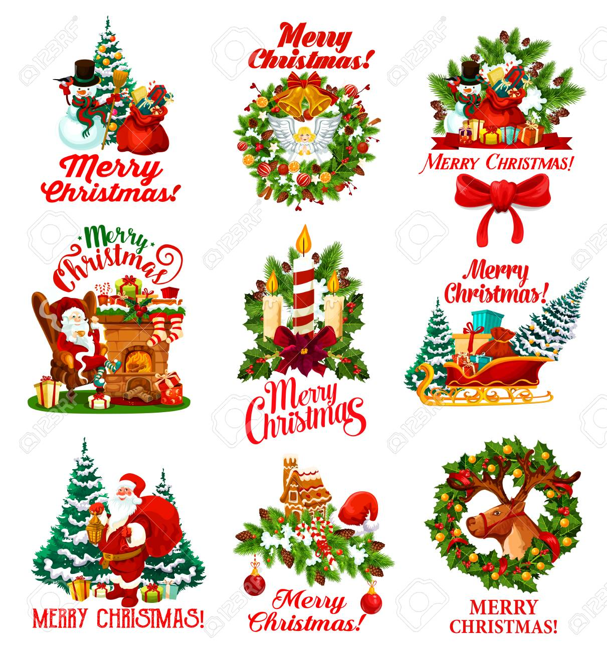 Merry Christmas Greeting Wishes Icons Of Winter Holidays Symbols Royalty Free Cliparts Vectors And Stock Illustration Image 108998256