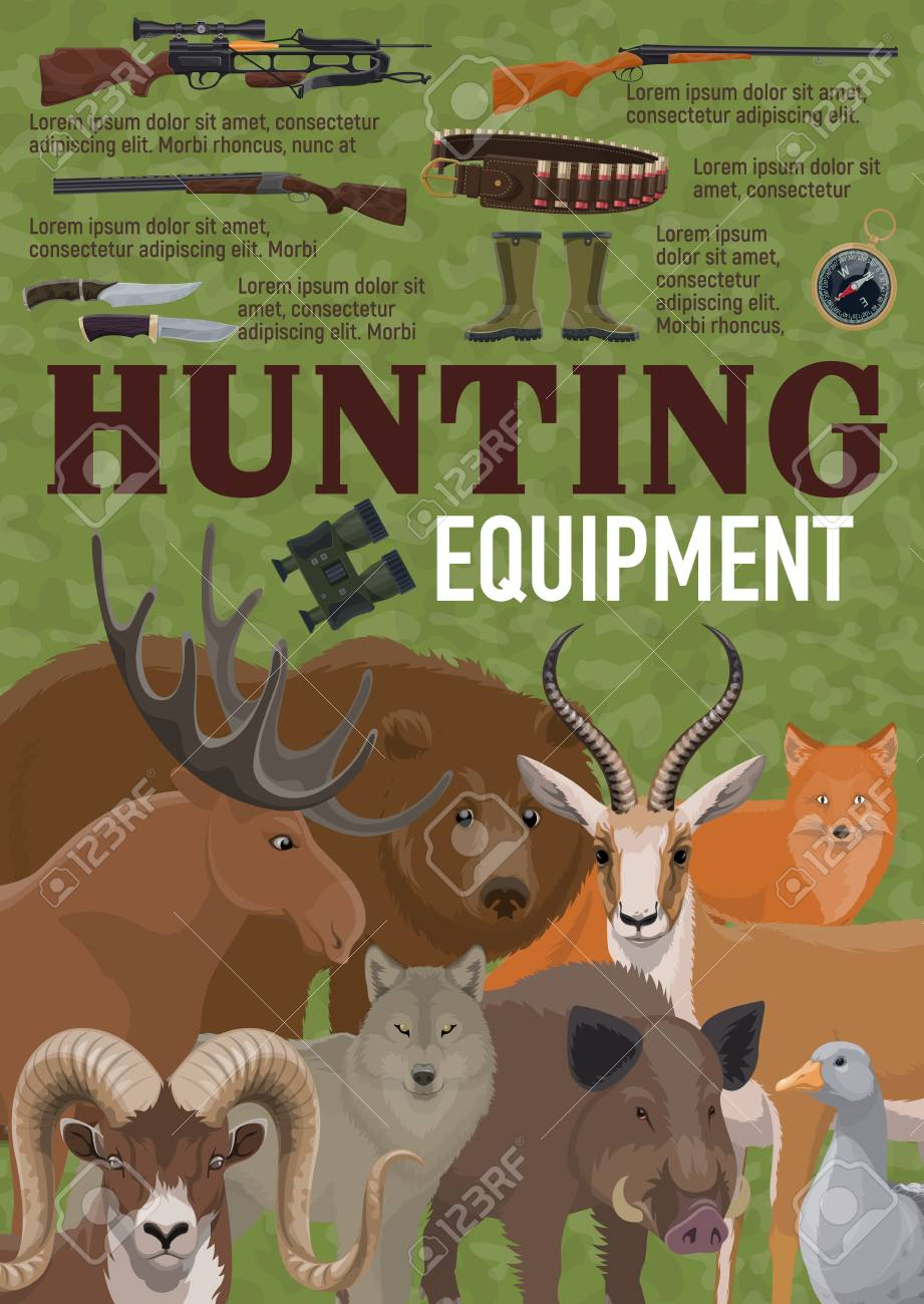 Hunting equipment for hunt sport retro poster with weapon and