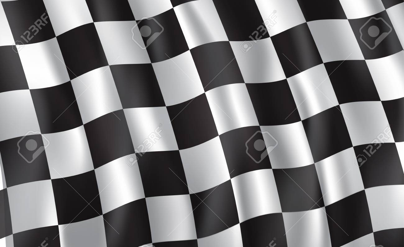 Car race or motorsport rally flag. Vector checkered 3D wavy pattern background of racing sport, bike or motocross competition, championship design - 128161416