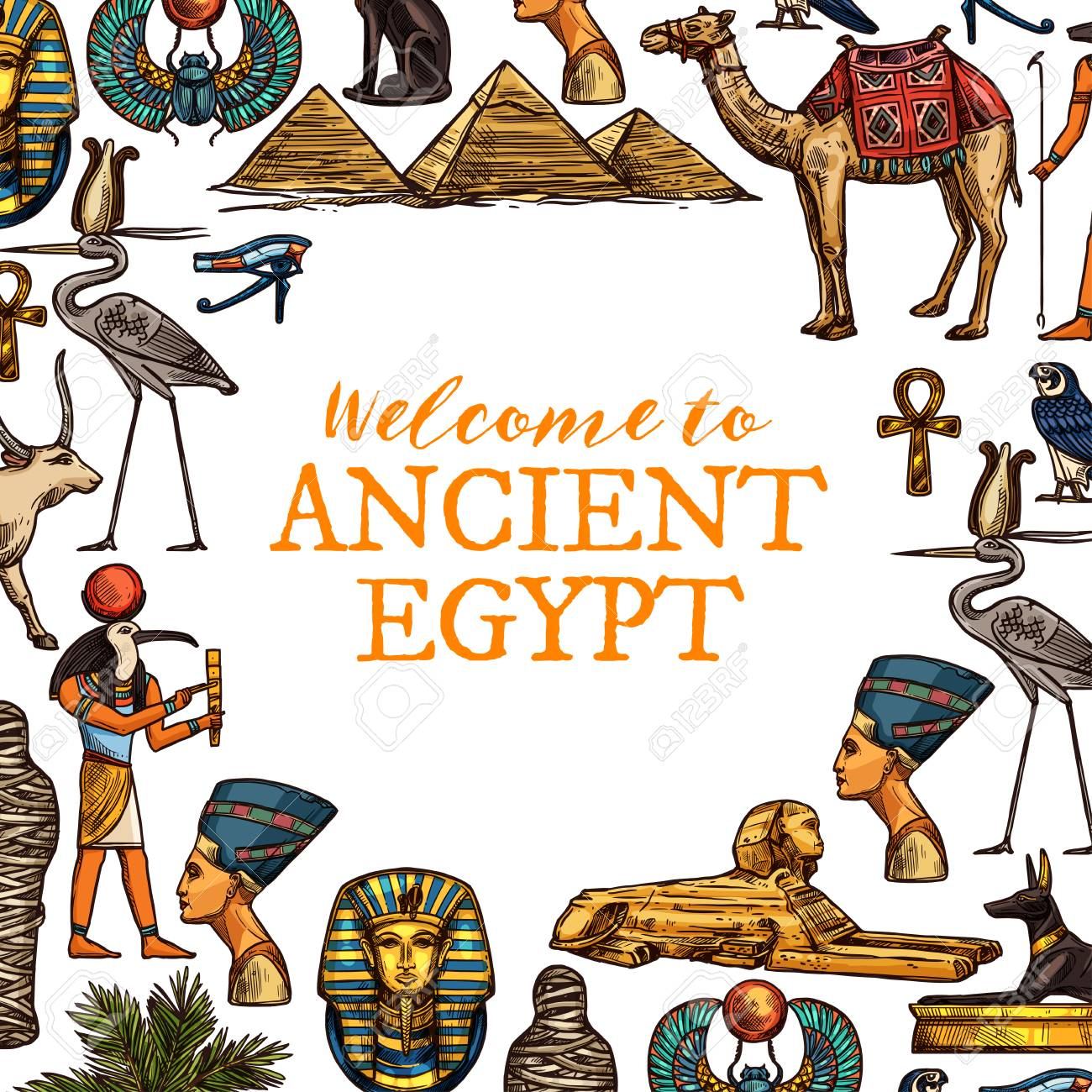 Welcome to ancient Egypt travel poster. Pharaohs, ankh and Ra god, Cleopatra head and sphinx, Great pyramids and camel, golden cross and stork, Tutankhamun and scarab - 109840706