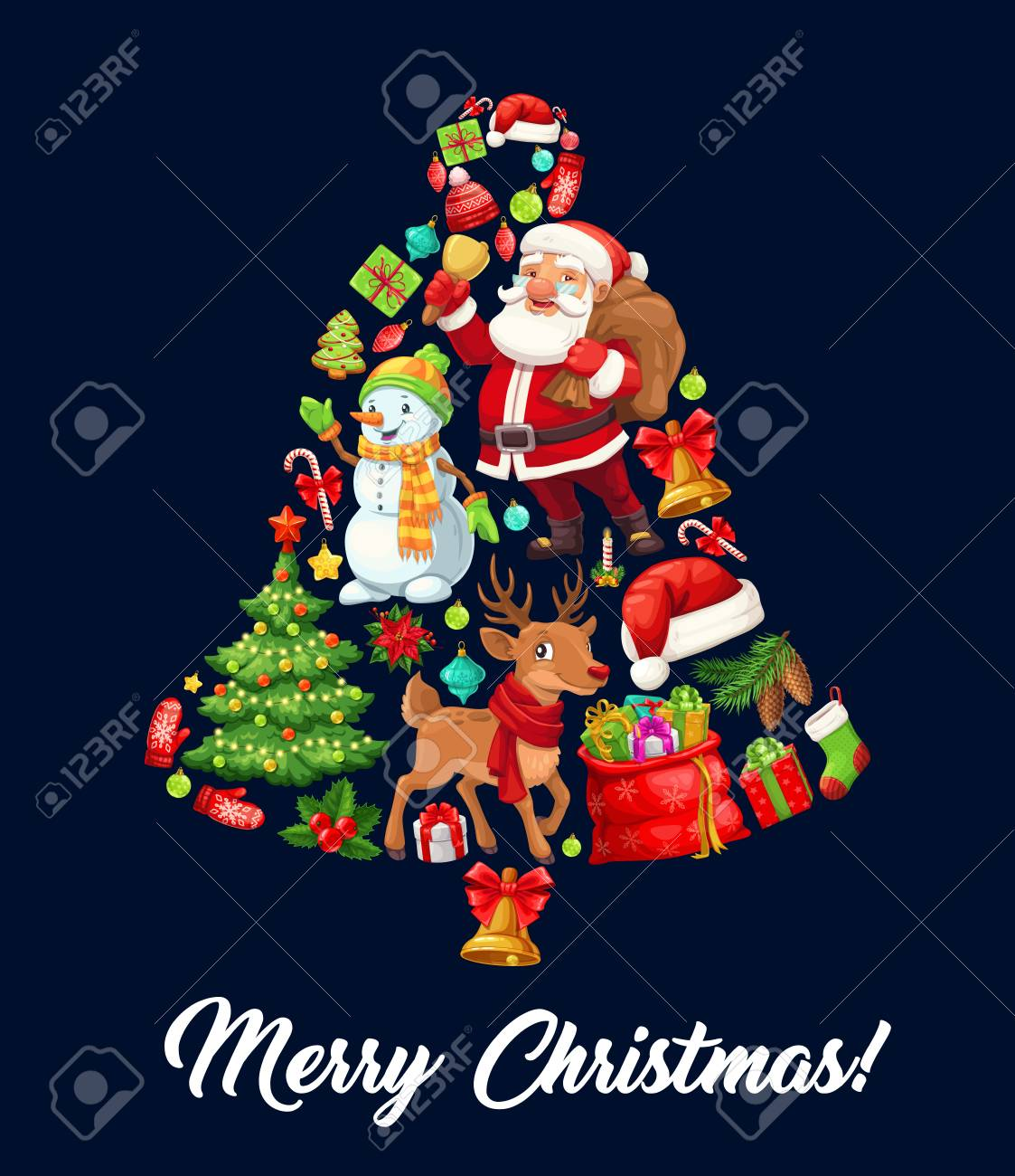 Christmas Bell Composed Of Cartoon Santa Claus Xmas Tree And Royalty Free Cliparts Vectors And Stock Illustration Image 128161517