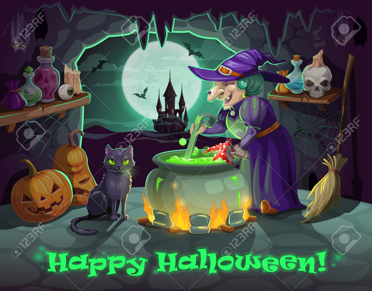 Halloween Holiday Witch And Black Cat Cauldron With Potion Royalty  Free Cliparts Vectors And Stock Illustration Image 110063116