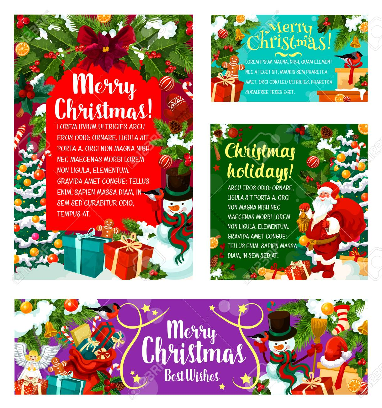 Merry Christmas Greeting Cards Of Xmas Party Invitations. Tree ...