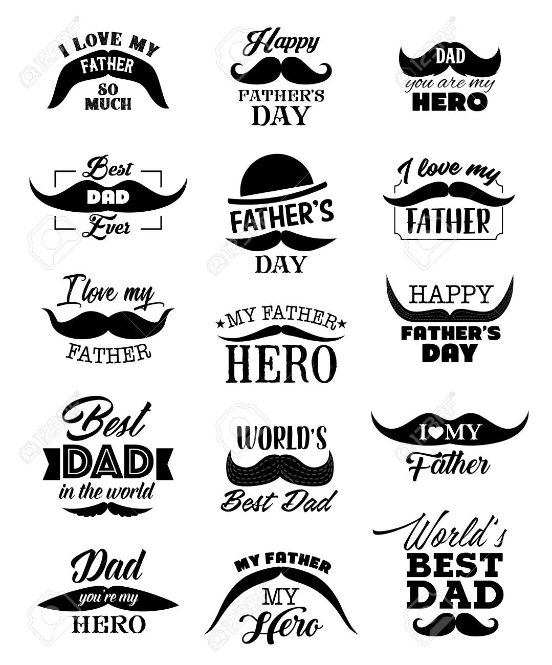 Happy Father Day Lettering Quotes With Black Mustaches Hat And