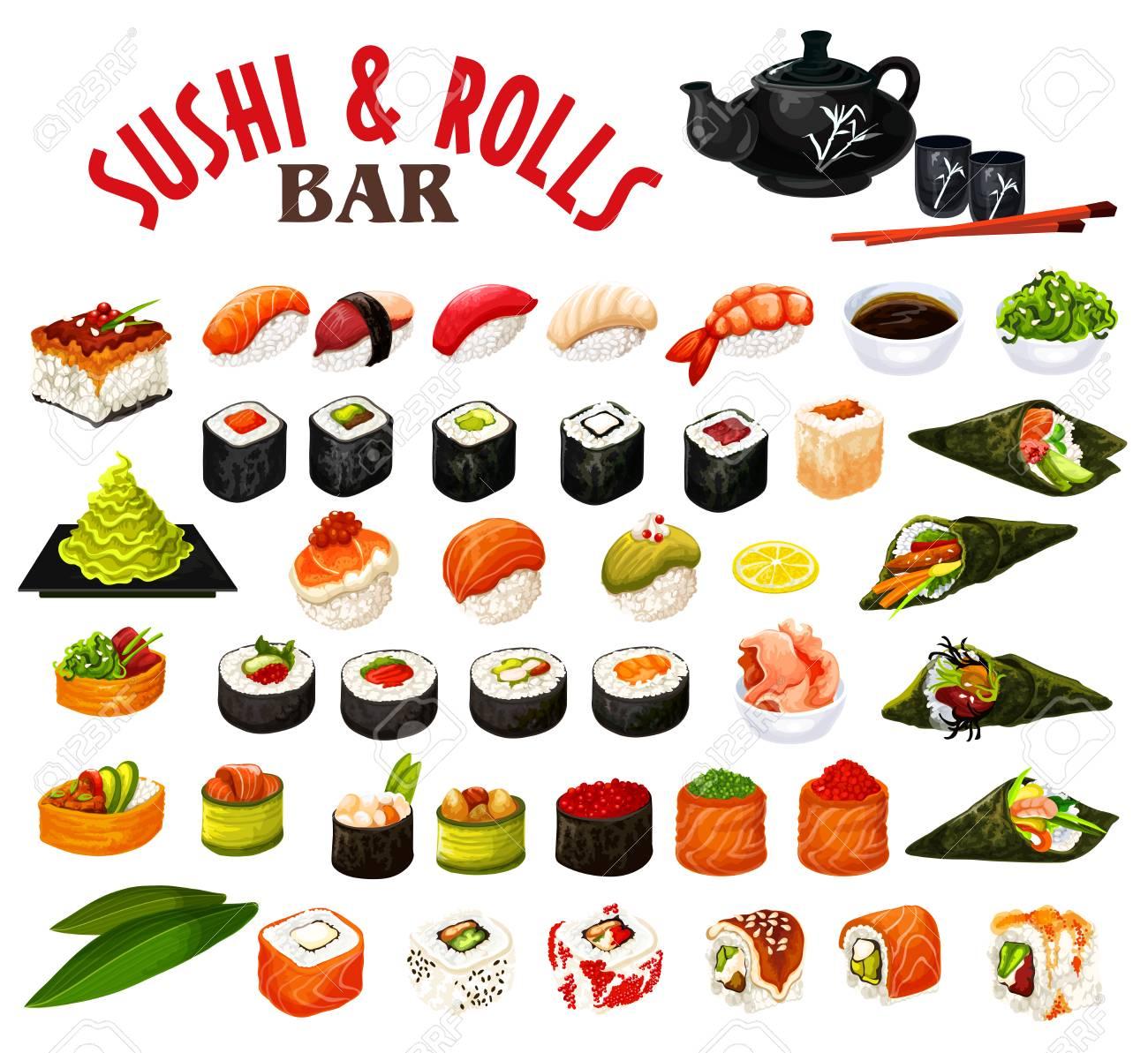 Sushi and rolls of japanese seafood with sauce and chopsticks. Vector roll, uramaki and inari, nigiri and gunkan, temaki sushi with salmon fish, rice and shrimp, seaweed nori, tuna, caviar and avocado - 110467675