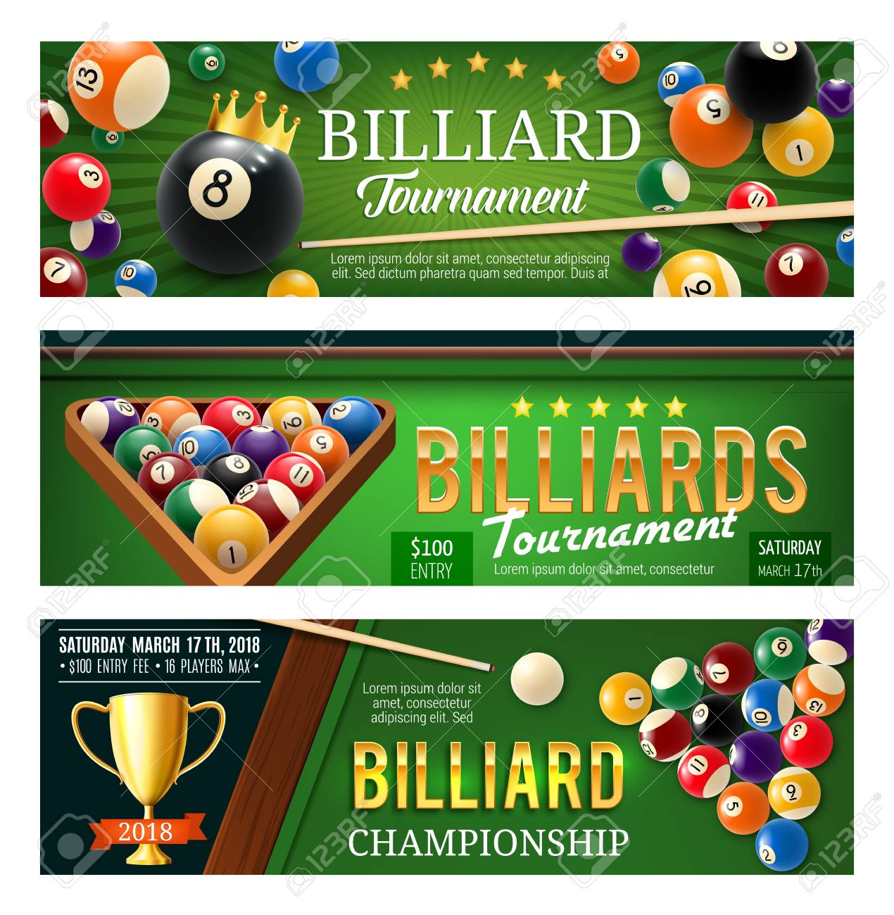 Billiards, snooker and pool sport game banners. Competition flyer template. Billiard ball pyramid, cue and winner trophy cup on green table 3d illustration, decorated with crown and ribbon - 110467682