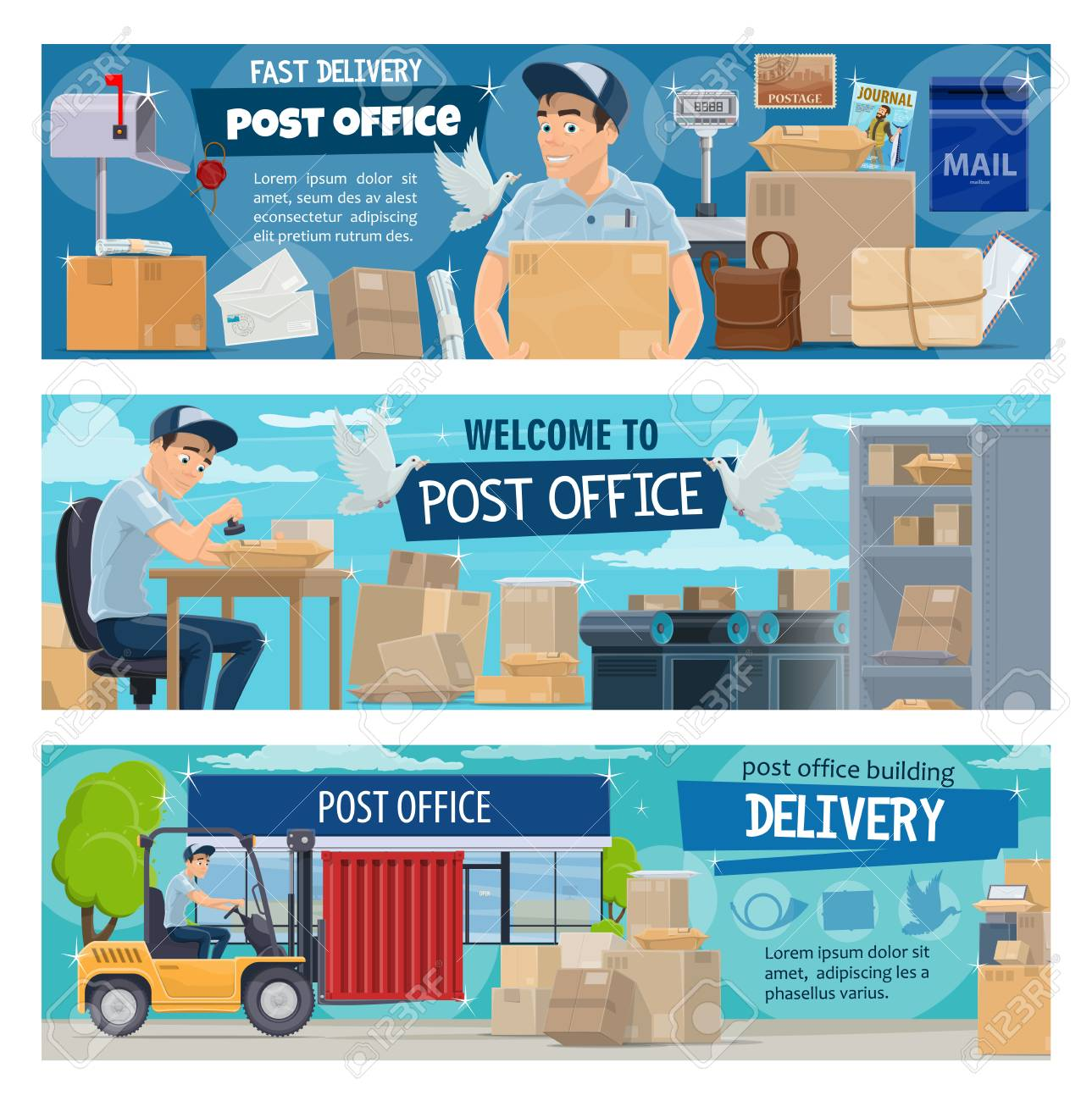 Post Office Postal Delivery Service Vector Postman Cartoon