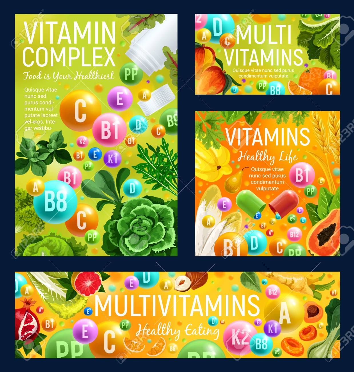 Vitamin complex of healthy food, fruits and vegetables. Natural sources of multivitamin in fresh herbs, organic orange and cabbage, mango, nuts and papaya. Vector vitamin capsules and pills - 110845020