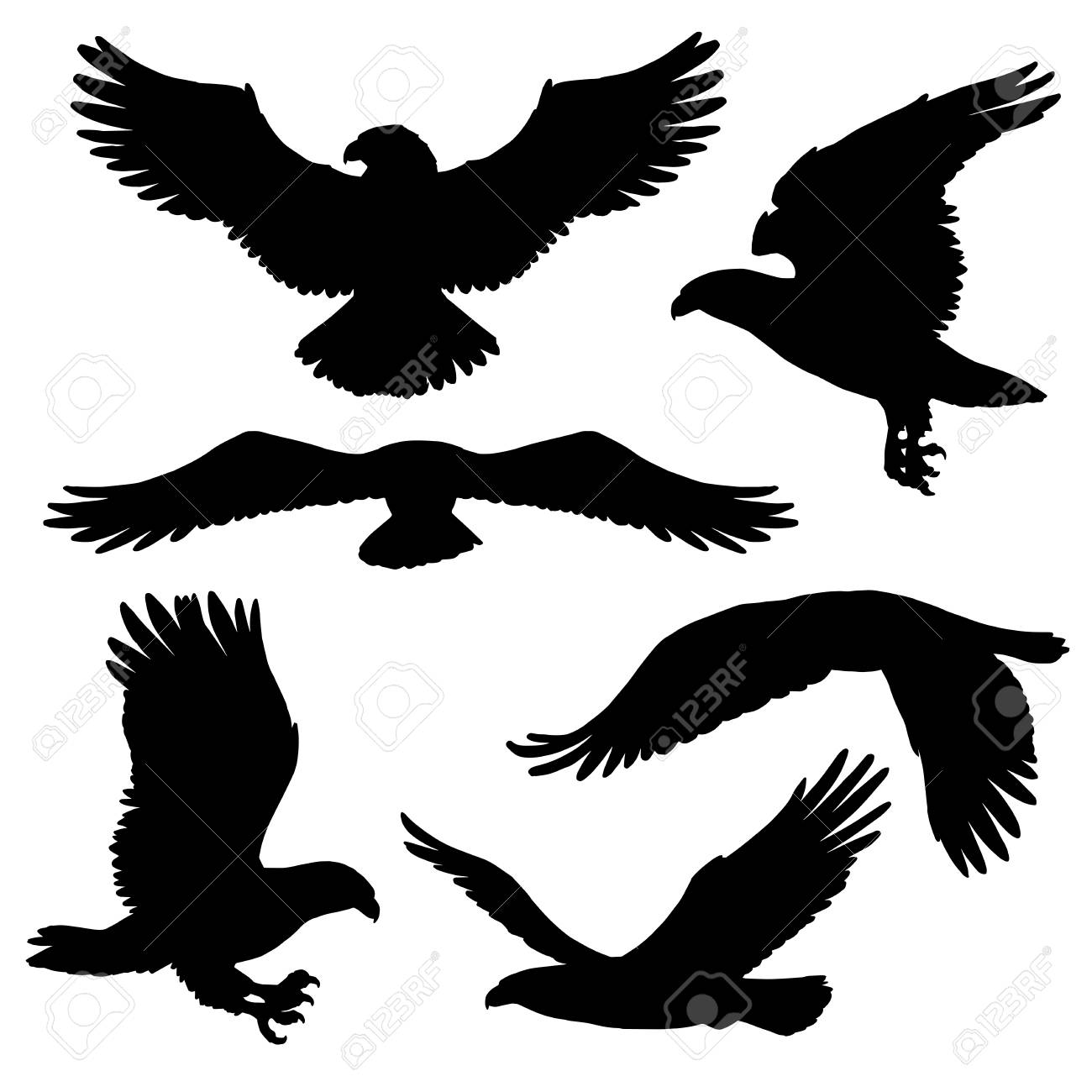 Flying eagle, falcon and hawk black silhouette bird icons. Vector bird predator in flying poses for heraldic symbols or tattoo design. Wild animal as sign of power and freedom - 128161737