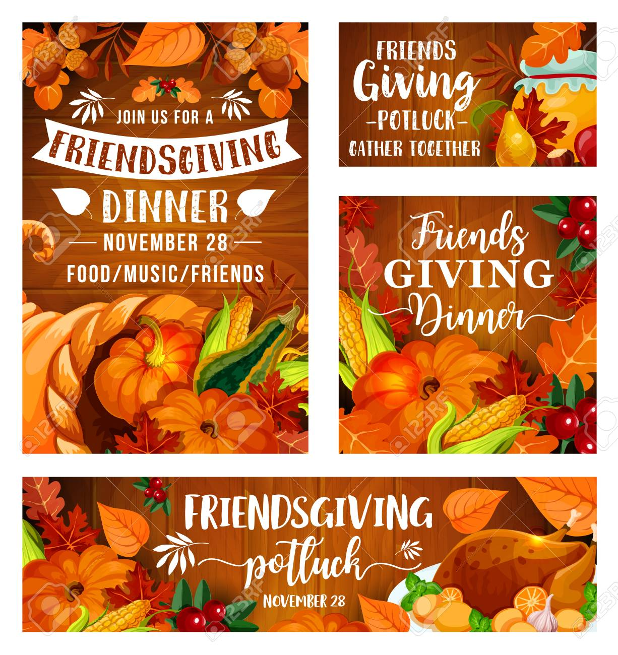 Friendsgiving potluck dinner party of Thanksgiving holiday picnic. Vector Friendsgiving eat and drink feast of friends dinner, turkey and pumpkin or corn, berries and honey in leaves - 128161789