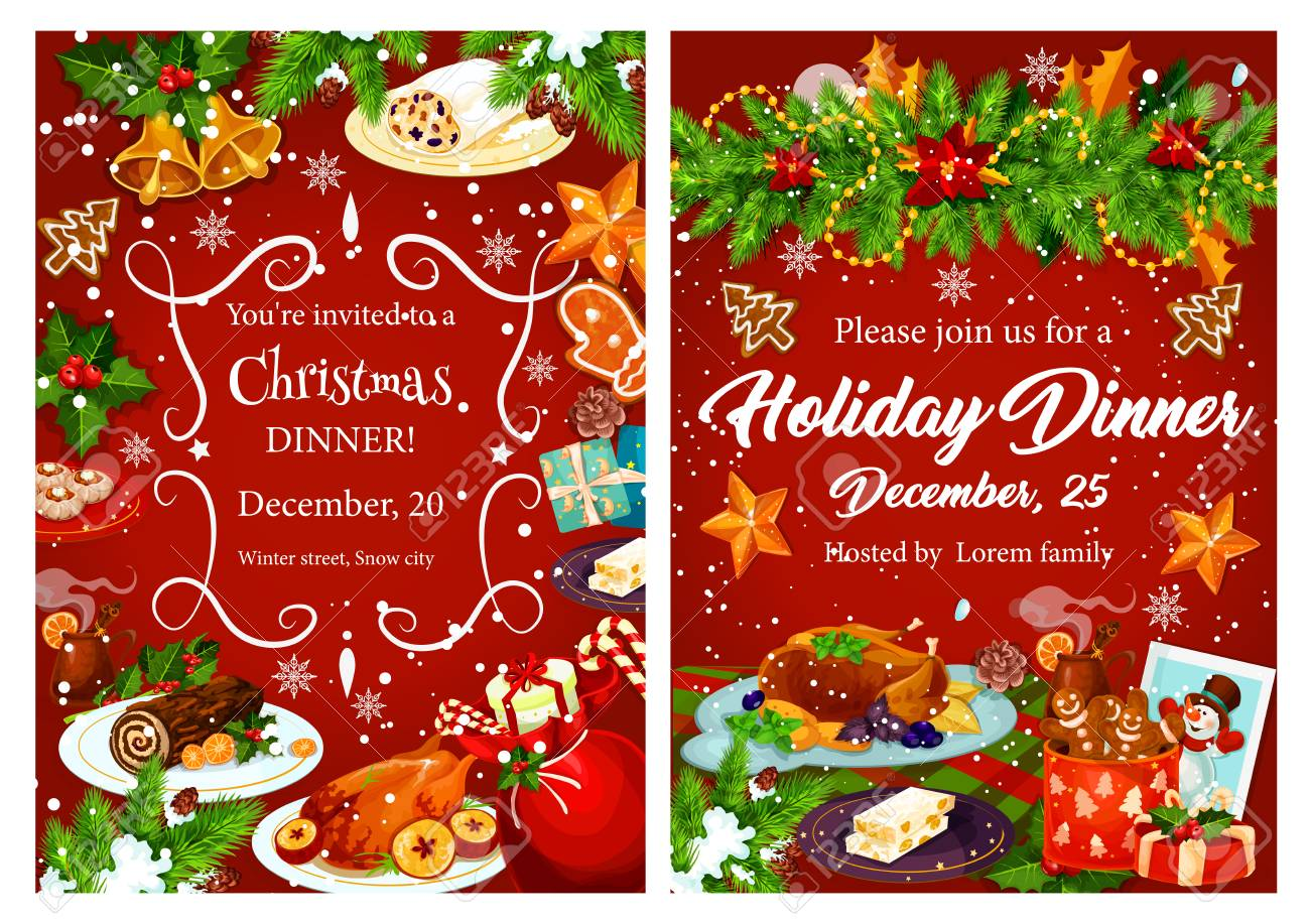 Christmas Holiday Festive Dinner Invitation Card Xmas Turkey