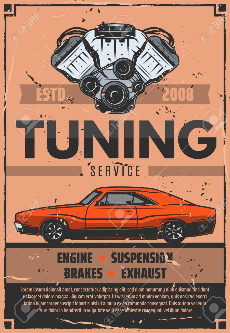 Car tuning service, vector  Mechanic pimping of engine, suspension