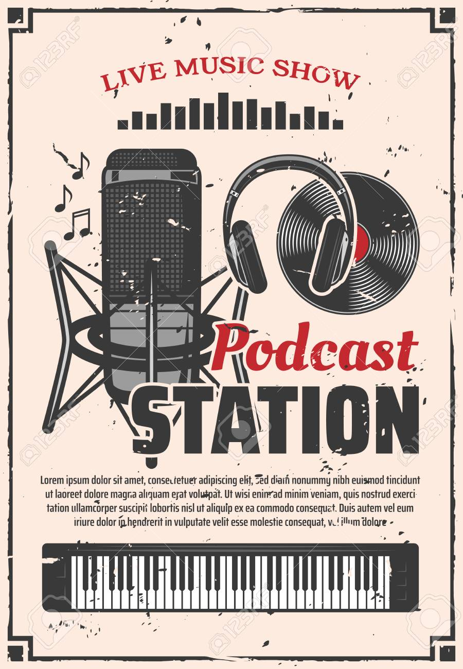 Live music show retro vector poster, podcast online radio station