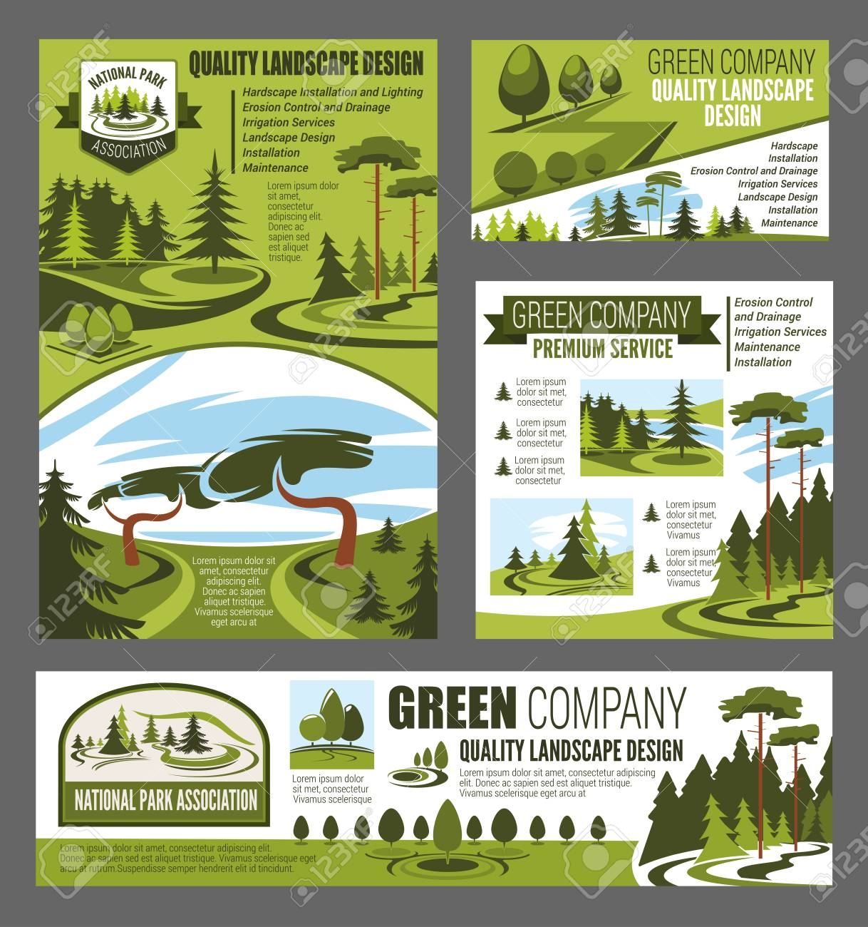 Park And Garden Landscaping Design Posters And Banner Village Royalty Free Cliparts Vectors And Stock Illustration Image 112262631
