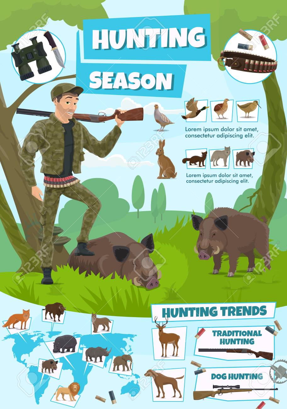 Hunting open season poster, African safari and forest hunt adventure. Vector hunter man with rifle gun and wild animals and birds trophy aper, rhinoceros or hippopotamus and lion with duck and grouse - 112262633