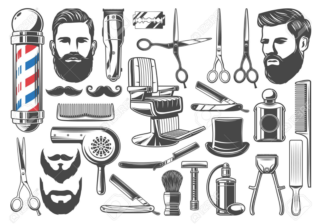 Barbershop tools and equipment, beard or mustache shave and haircut. Vector set of barber shop pole signage, chair or scissors, shaving brush, hair clipper and razor, hairdryer and hat - 127635287