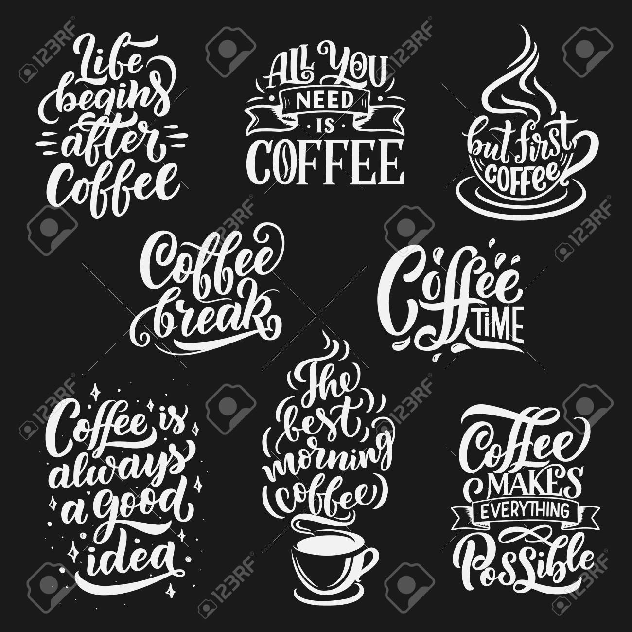 coffee drink quotes and cafe lettering vector calligraphy