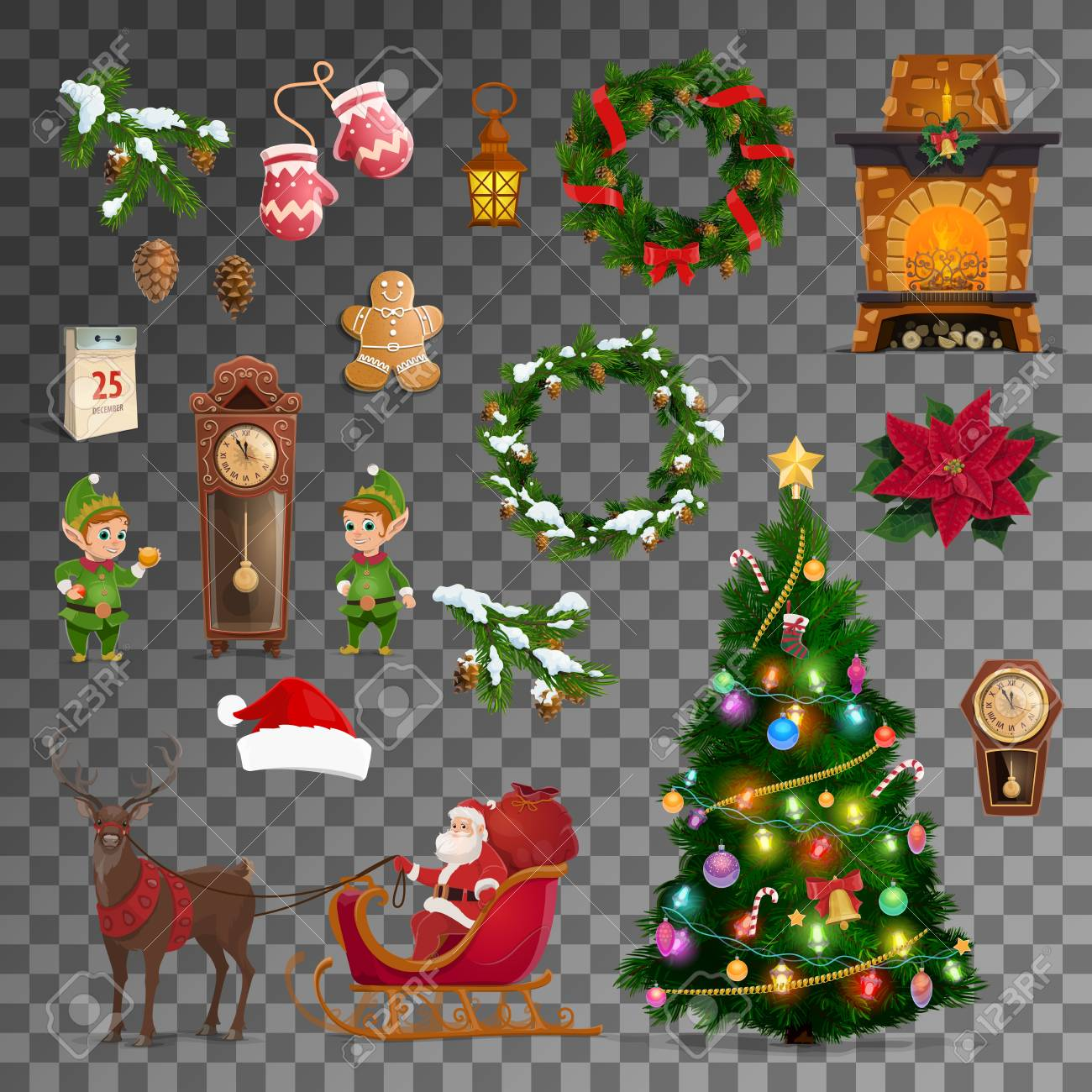 Christmas and New Year celebration vector symbols. Merry Xmas tree, Santa reindeer sleigh with gifts, gnome at eve clock and Christmas wreath, calendar and clock with fireplace, gingerbread cookie - 112448989