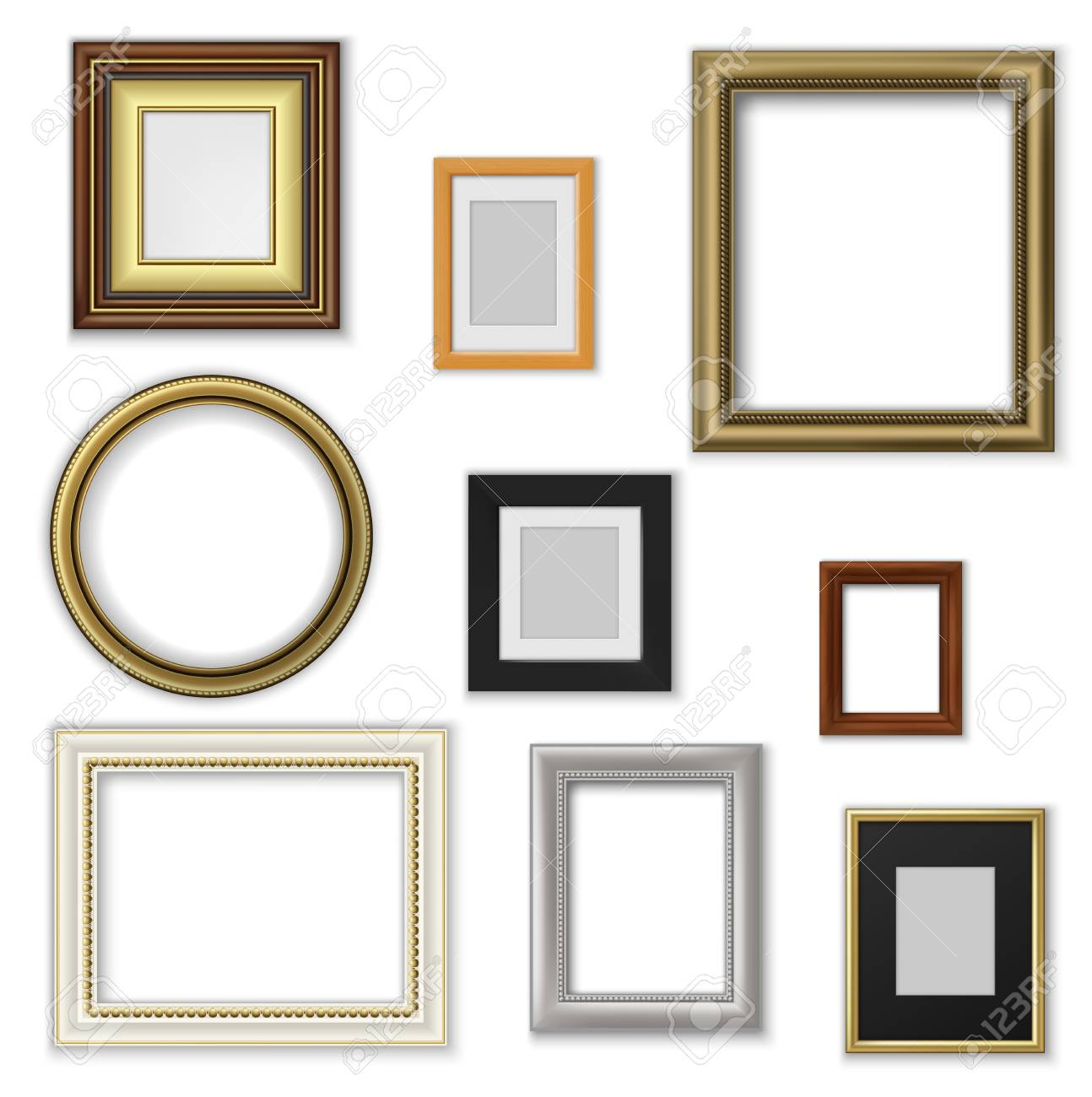 Wall Pictures And Photo Frames Square And Round Shape Vector