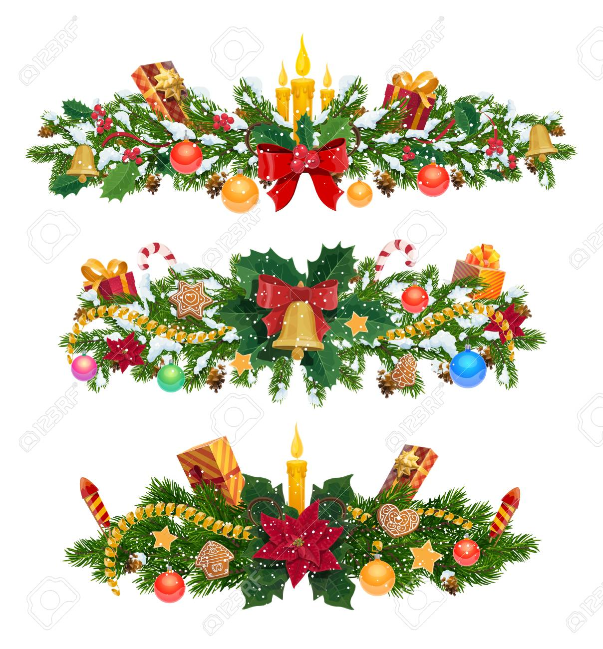 Christmas Garland And Decor Xmas Tree Branches Vector Fir Or