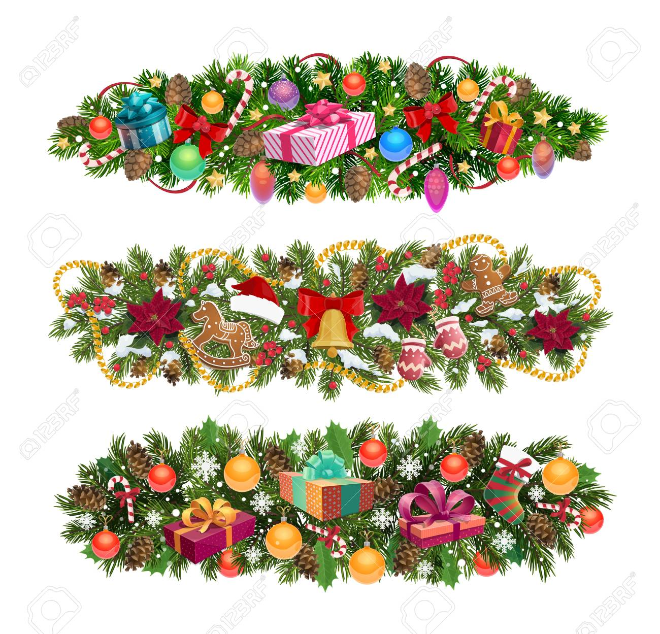 Christmas Tree Garland.Christmas Wreath Border Ornaments And Winter Holiday Decorations