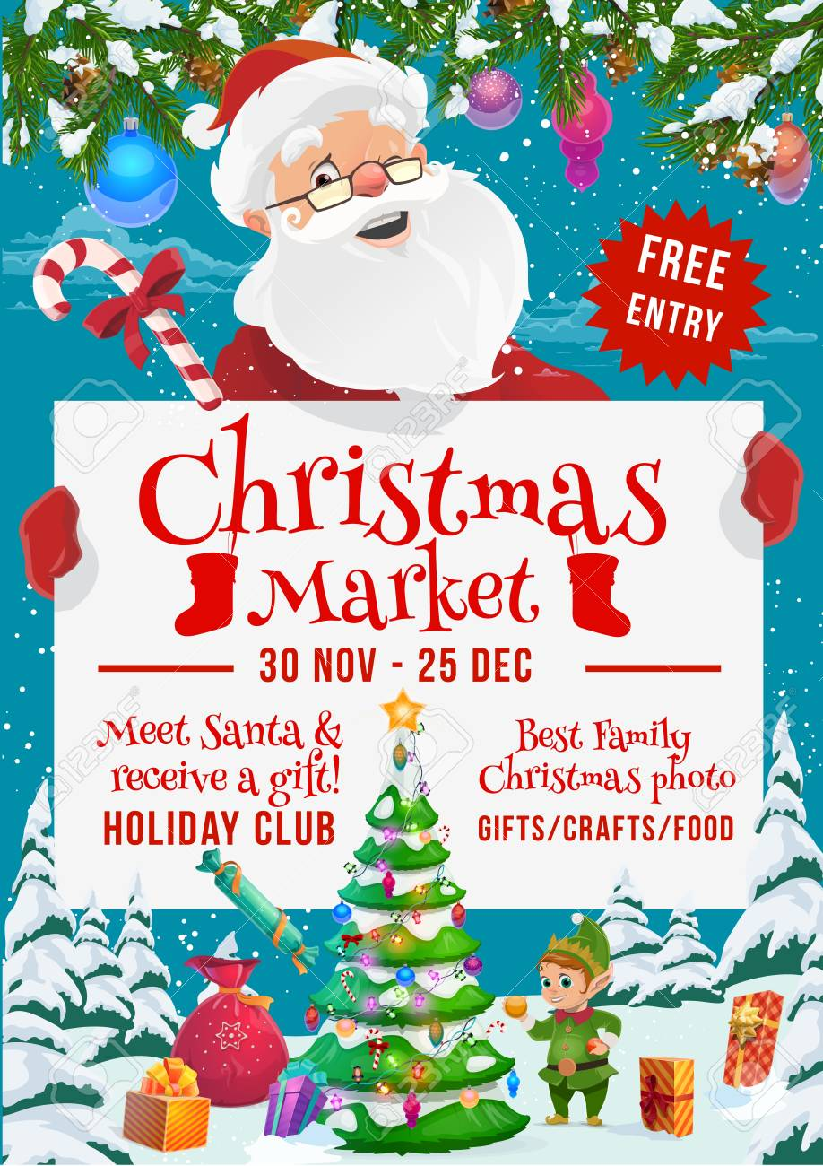 Christmas market and winter holidays fair vector poster with Santa, elf and gifts. New Year present boxes and Xmas tree, decorated with star, ball and lights, ribbon, bow and snow, candy and snowflake - 112467824