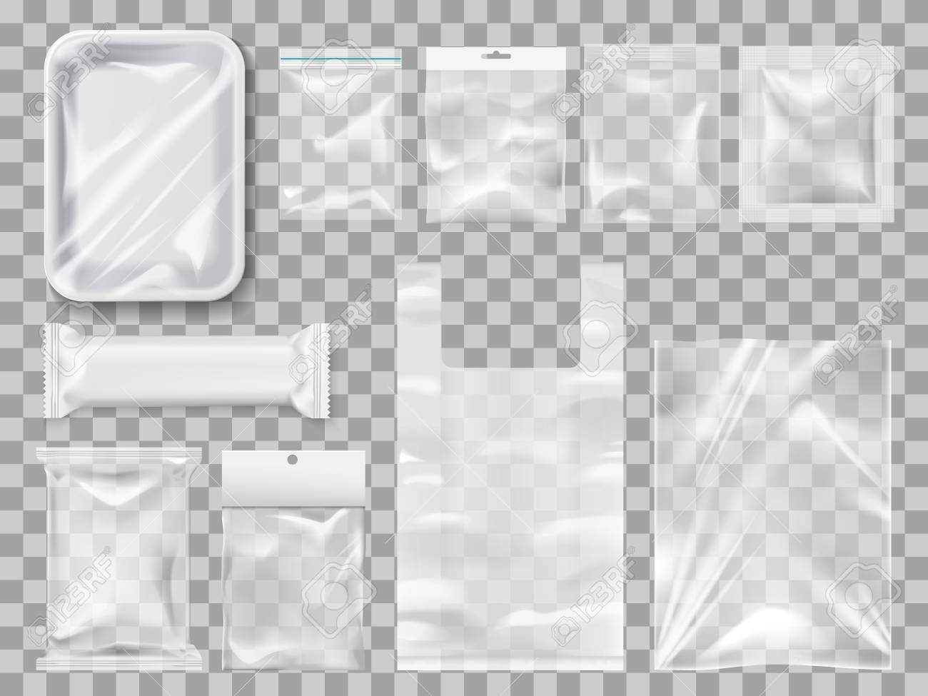 Empty packs, plastic package and vacuum containers mockups for food. Transparent disposable clean packages for meat and chocolate bar, spices and pastry. Transparent packets to carry and keep goods - 112961416