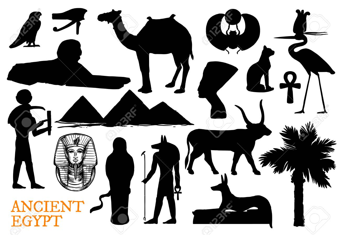 Ancient Egypt religion symbols with god and travel landmarks silhouettes. - 113538184