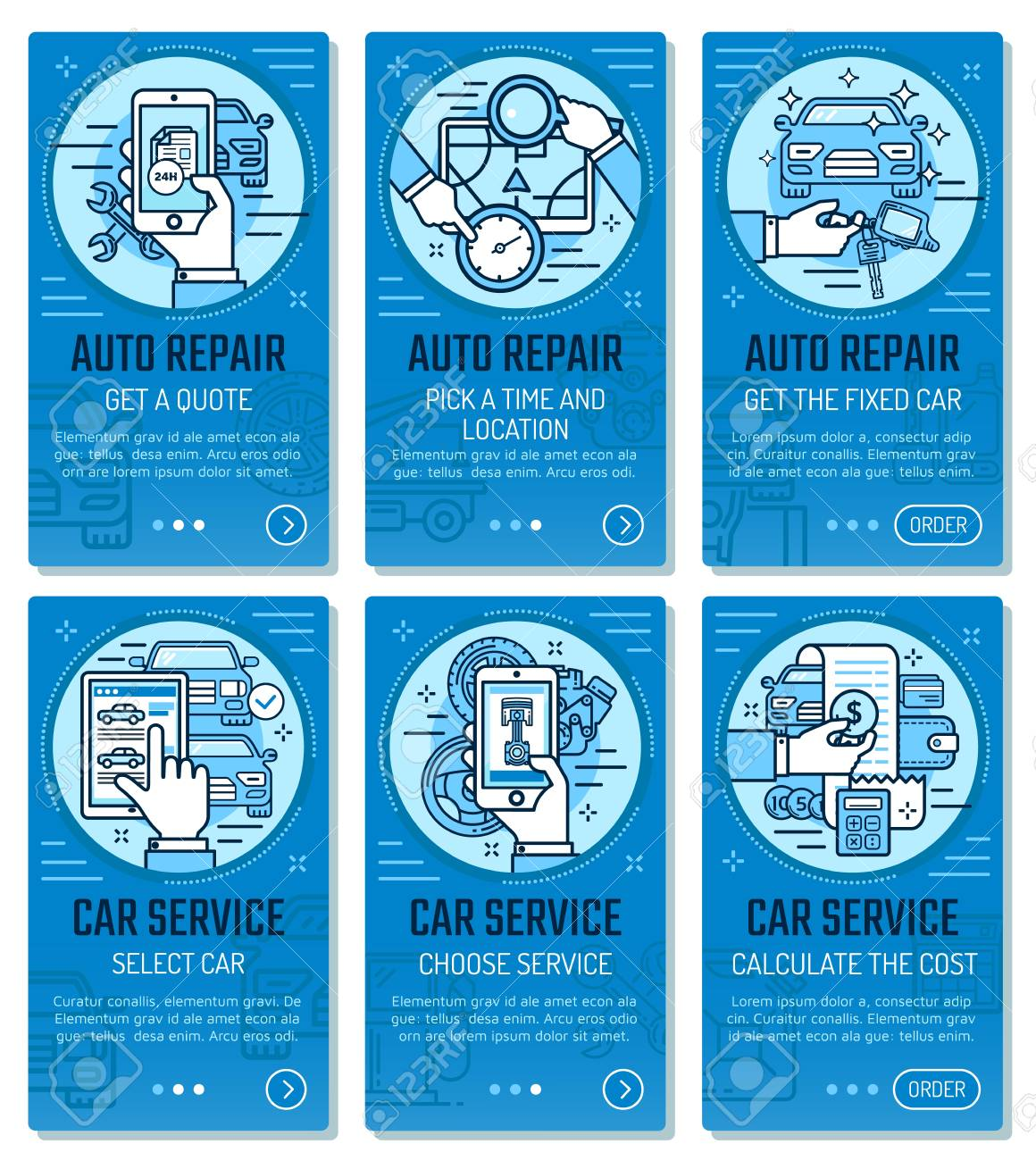 Car Service Or Vehicle Diagnostics And Auto Wash Mobile Application Royalty Free Cliparts Vectors And Stock Illustration Image 127021789