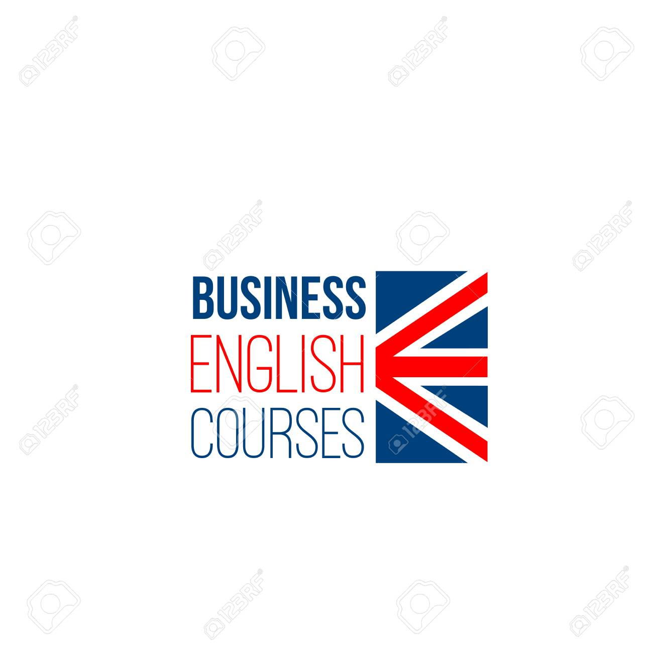 Business English courses vector sign isolated on a white background. Studying foreign languages concept. Creative badge for English language school or courses for adults - 114519971