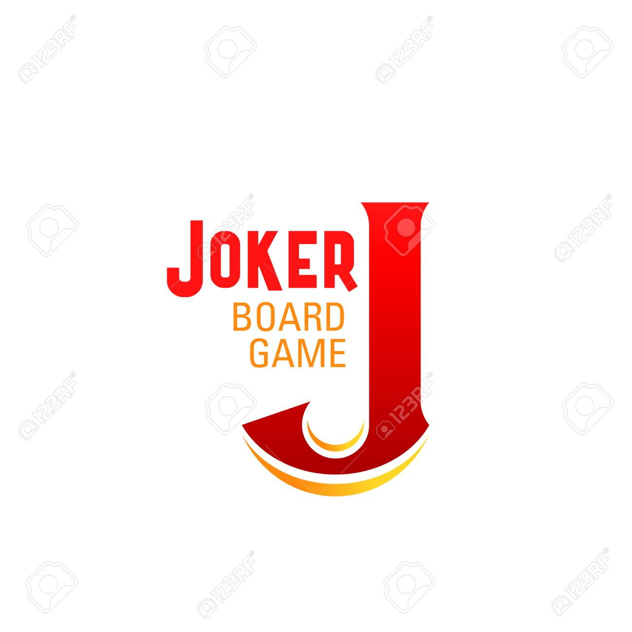 Joker board game letter J icon for table game or boardgame family entertainment and leisure design. Vector letter J for educational or kid and children fun casino poker games - 114520032
