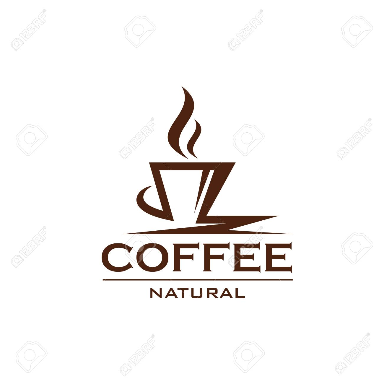 Coffee cup icon design for cafe or bar menu. Natural coffee design label isolated on white background. Concept of hot drinks and coffee beverages. Coffee shop abstract badge - 114520855