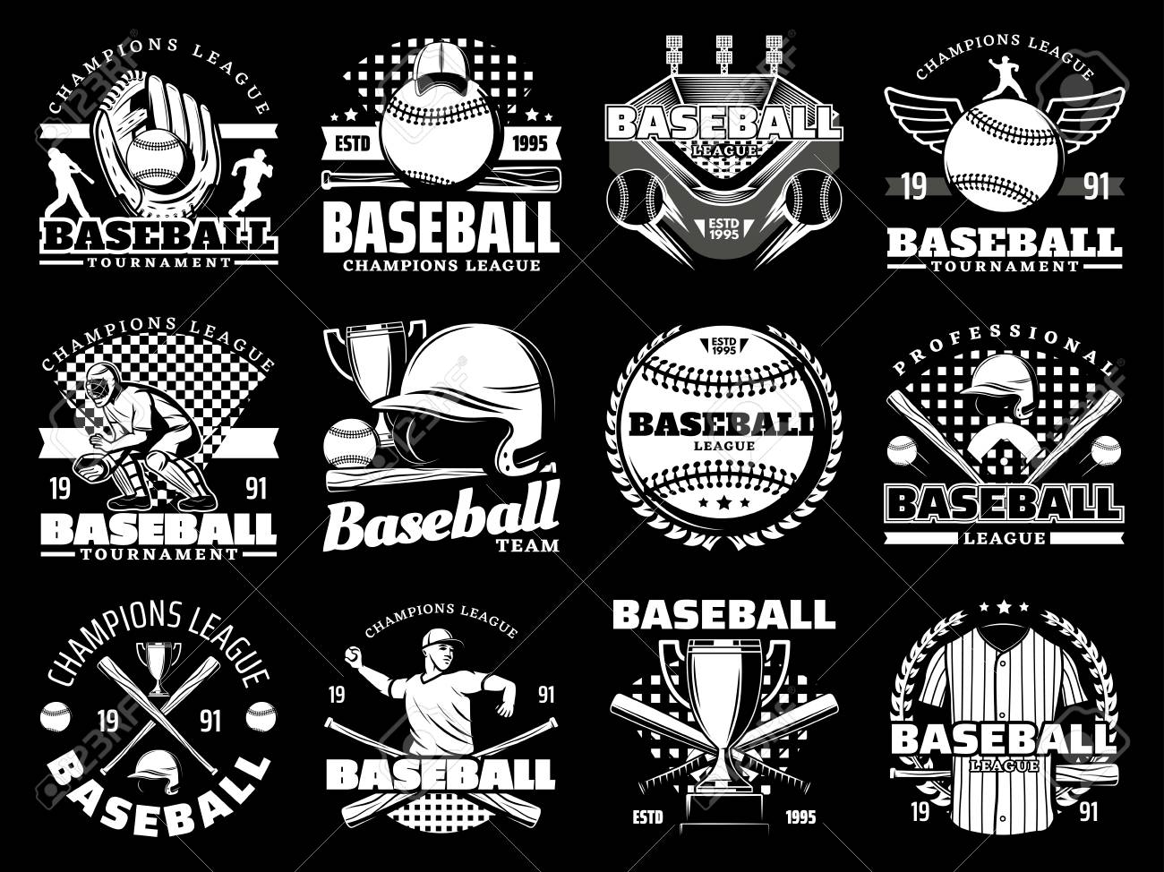 Baseball sport game monochrome icons, sporting items. Vector glove and ball, stadium and player, helmet and bat, trophy cup and uniform. Tournament or championship, cap and arena, laurel branches - 115570833