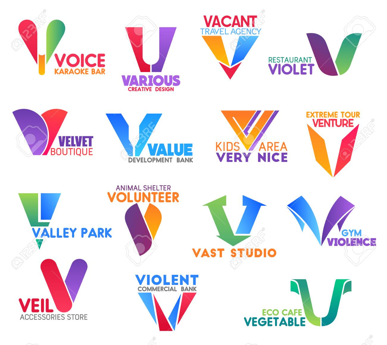 Corporate identity letter V business icons. Entertainment and design, travel, food and fashion, banking, extreme and environment, charity, sport and shopping, ecology. Vector emblems, signs or symbols - 116516695