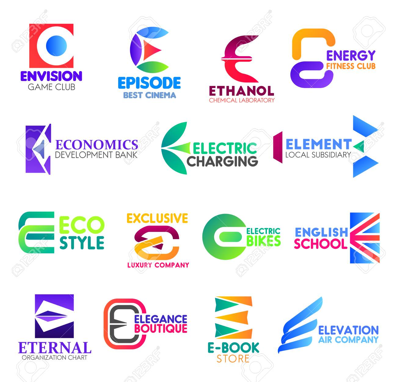 Corporate Identity Letter E Business Icons Vector Gaming And