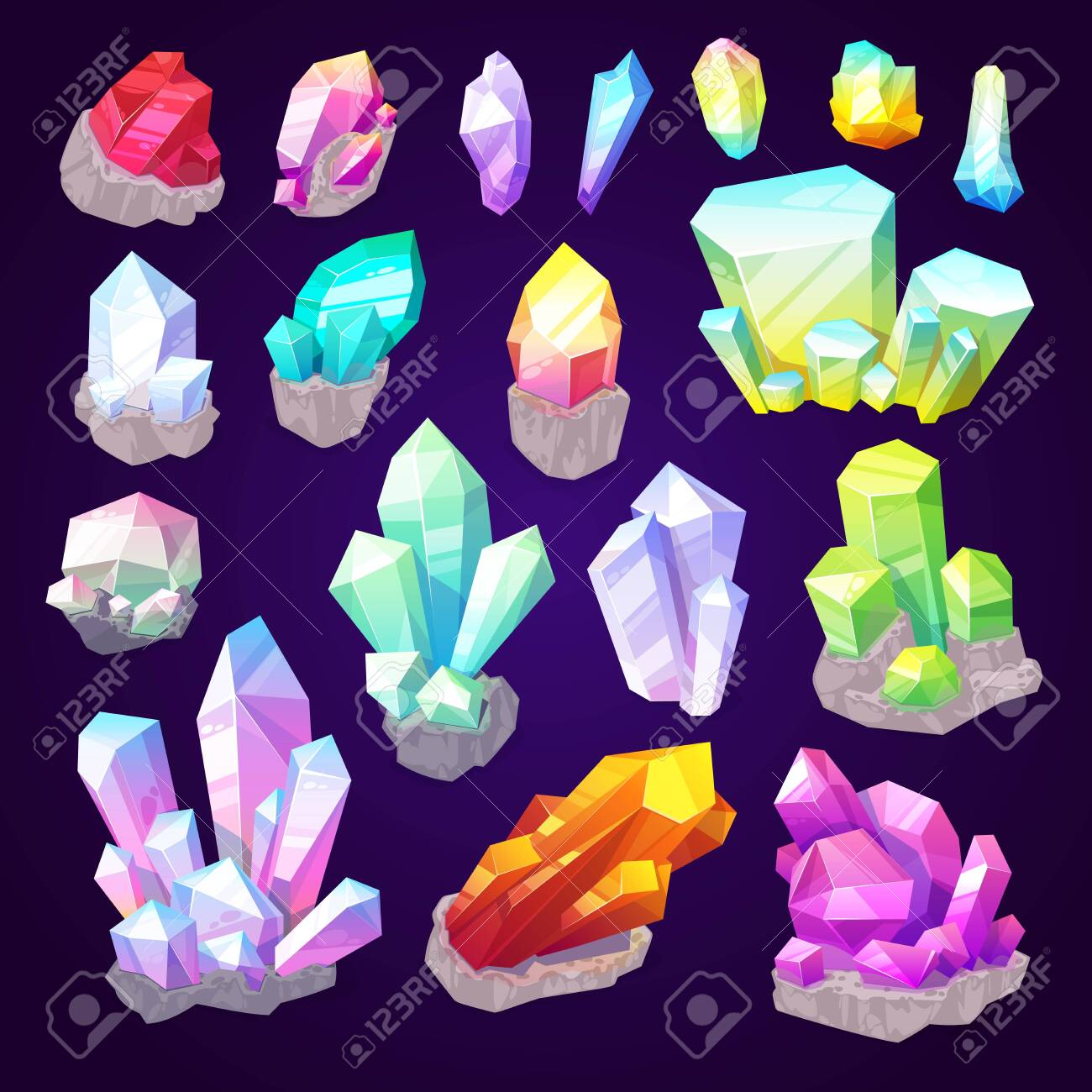 Gemstone crystals, gem stones and natural minerals. Vector sparkling brilliant diamond, emerald jewel or sapphire shine and amethyst with ruby in precious cutting jewelry - 116740488