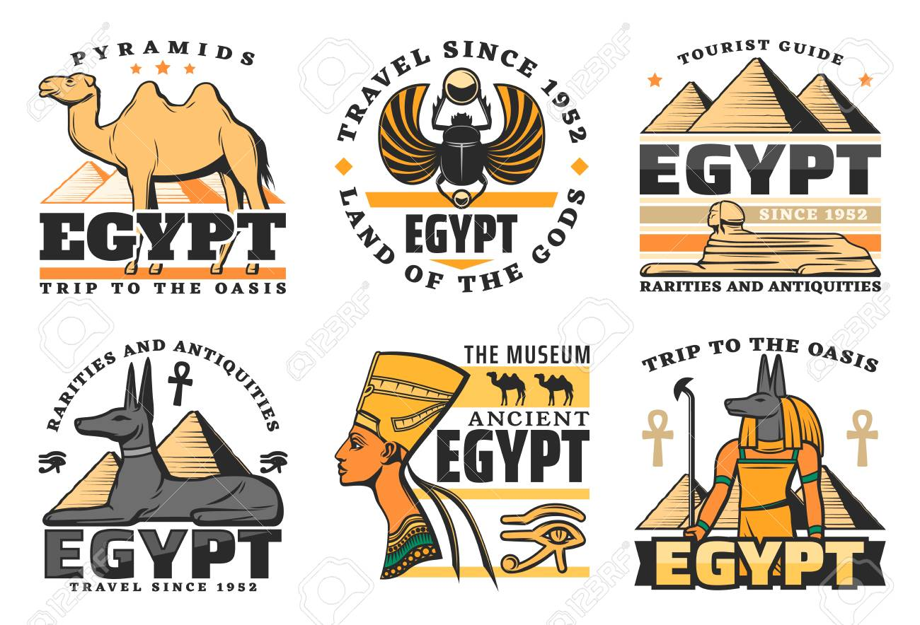 Travel to Egypt, great pyramids isolated icons. Vector camel and scarab, sphinx and Pharaoh Hound, Nefertiti queen and Anubis God. Ancient history of Egyptian culture and religion, museum symbols - 118748210