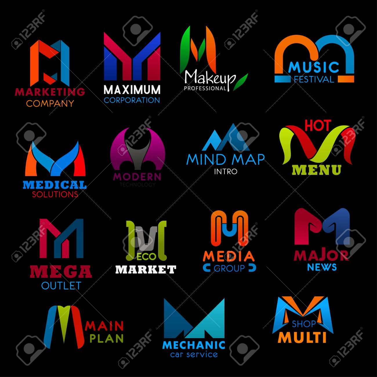 M letter icons for business. Marketing and maximum, makeup and music, medical and modern, mind map and menu, mega and market. Media and major, main and mechanic, multi badges vector isolated - 118167845