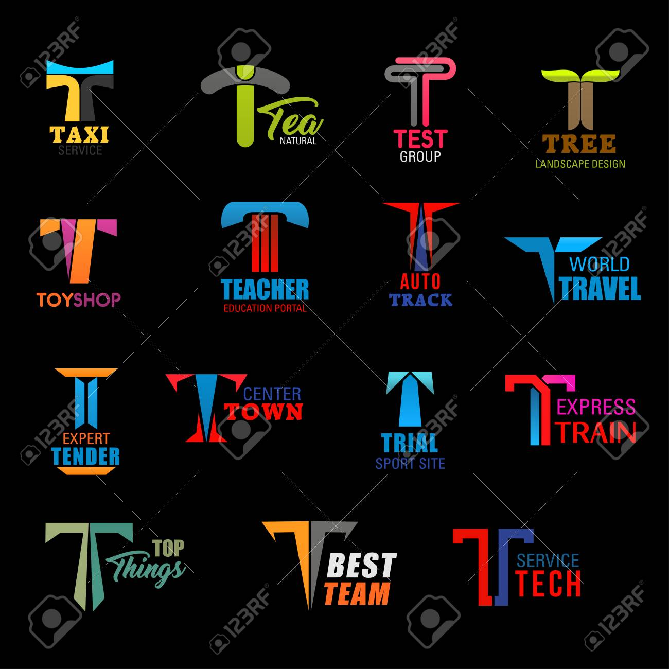 Letter T icons of taxi service, landscape design company and education portal. Vector T signs of travel agency, express train transportation, sport team od technology and toy shop - 118168451