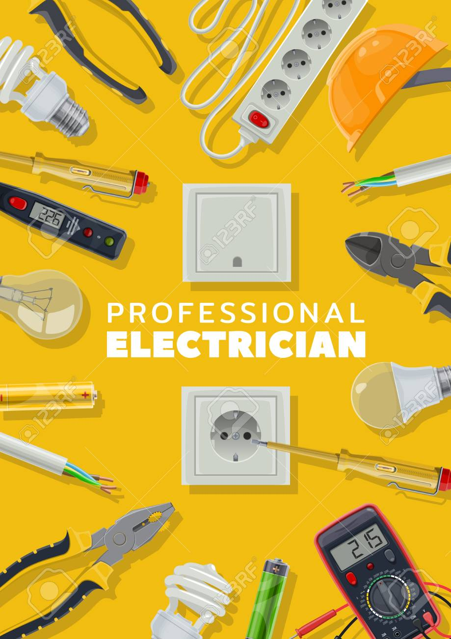 Electrical Tools, Electricity Repair Service, Electrician. Vector.. Royalty  Free Cliparts, Vectors, And Stock Illustration. Image 124610183.123RF